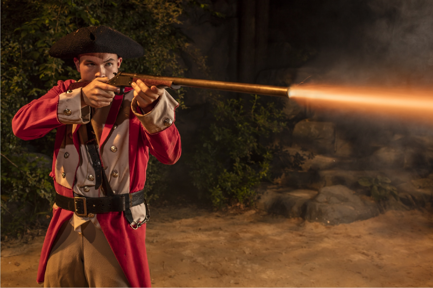 British Soldier Firing a musket in Unto These Hills, Outdoor Drama